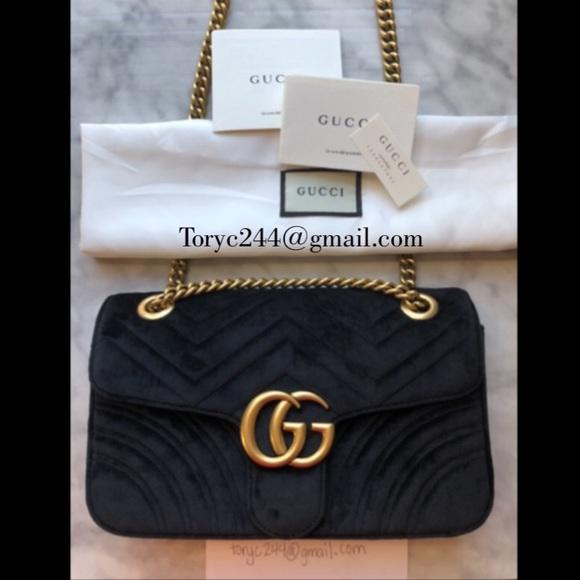 20b995d2b784 Gucci Handbags - Gucci Velvet Purse Bag Gold Chain Crossbody Black